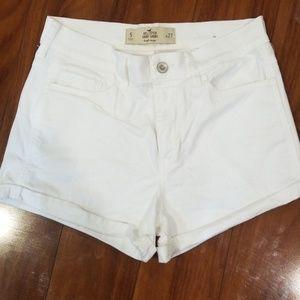 Hollister white denim high rise shorts